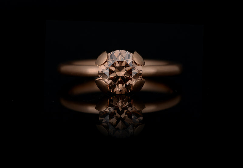 Rose gold calyx engagement ring with cognac diamond-McCaul