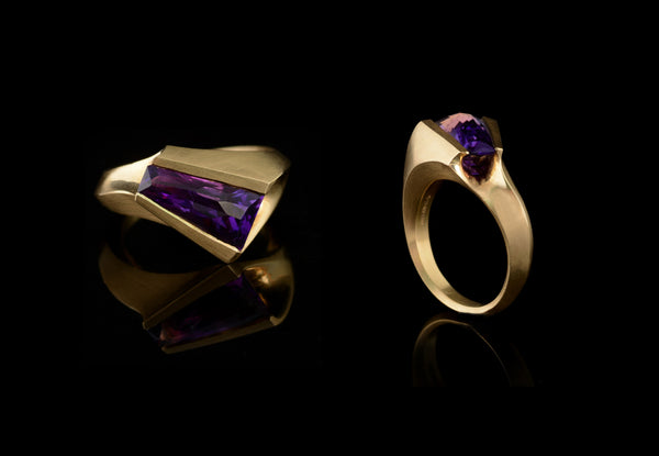 18ct yellow gold carved ring set with fancy cut amethyst-McCaul