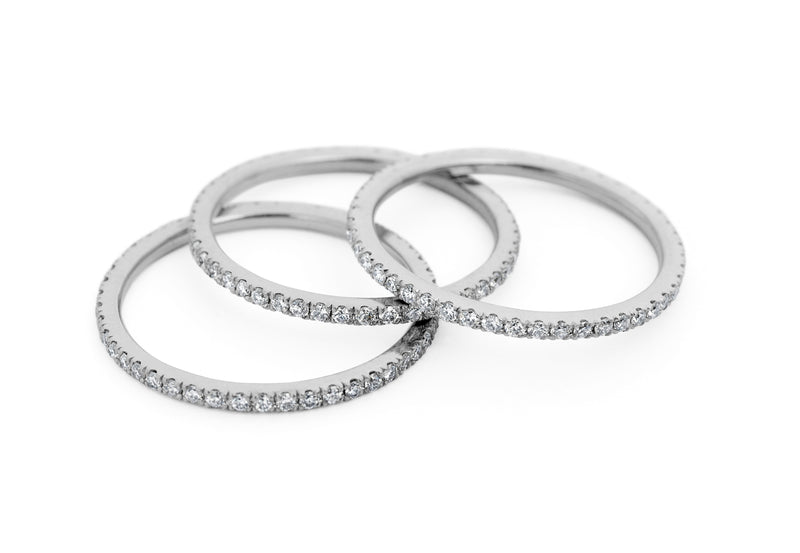 'Thread' fine platinum diamond set wedding/eternity bands-McCaul