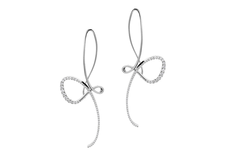 Forged white gold and diamond drop earrings