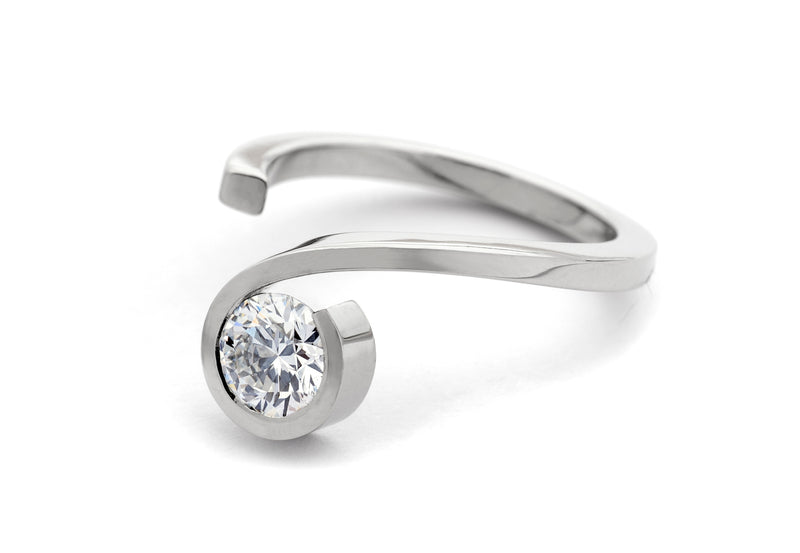 'Twist' platinum diamond engagement ring-McCaul