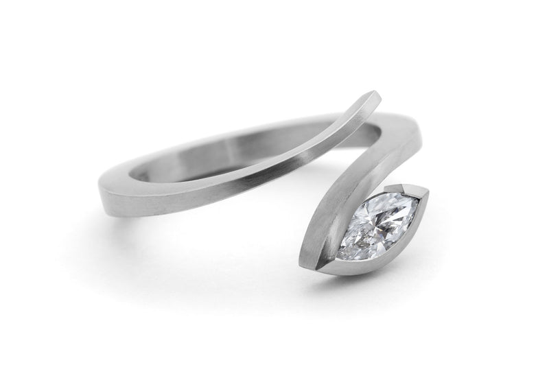 'Twist' platinum and marquise white diamond engagement ring