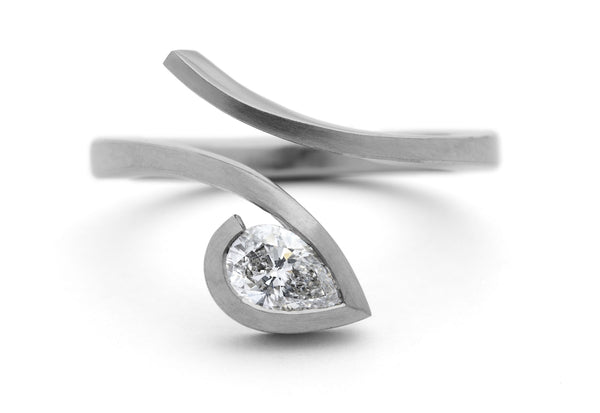 'Twist' platinum engagement ring with pear shaped diamond-McCaul