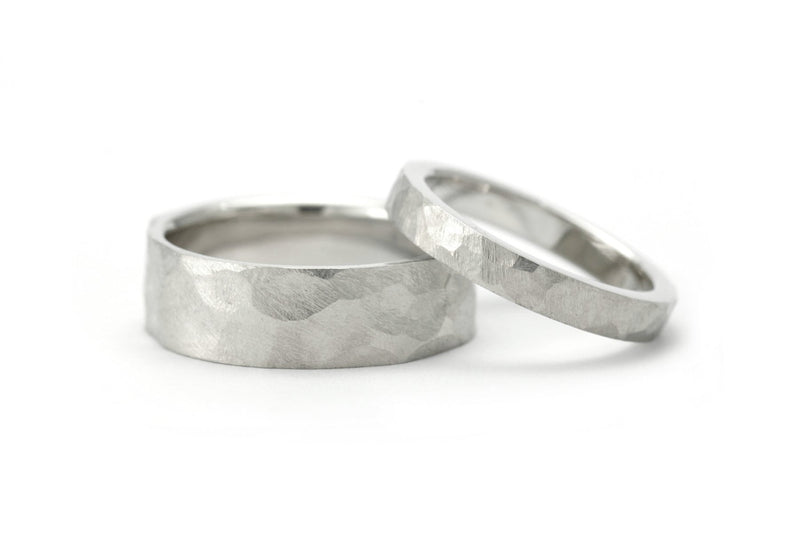 Ladies and mens hammered wedding bands