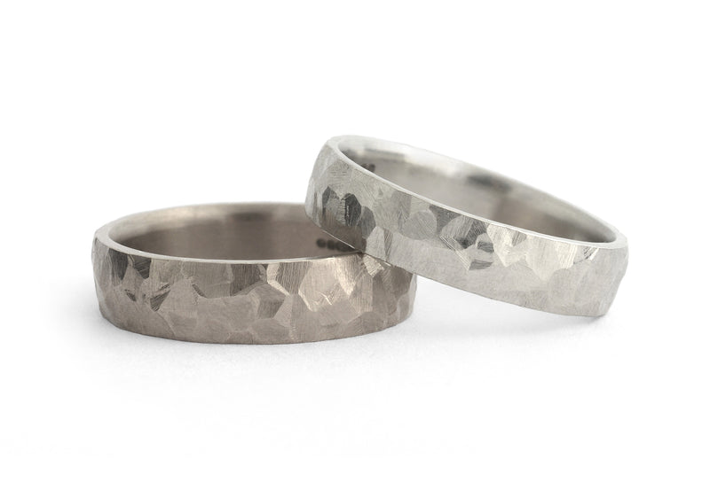 Ladies and mens hammered wedding bands-McCaul
