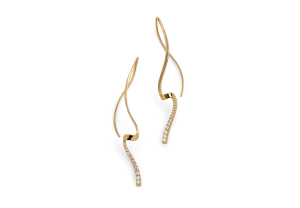 Hand forged 18 carat gold pave set earrings-McCaul