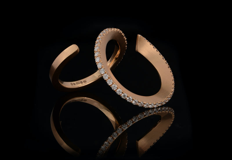 Hand forged 18ct gold and diamond set ring-McCaul