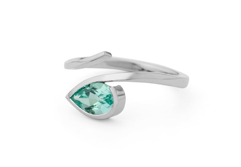 Hand forged platinum and pear shaped paraiba ring-McCaul