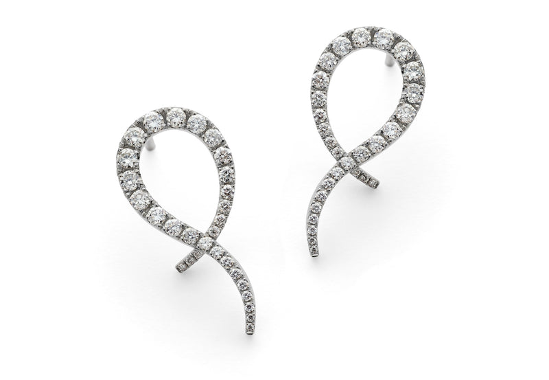 18ct white gold diamond set studs-McCaul
