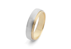 Men's yellow gold and white gold mixed metal wedding band-McCaul