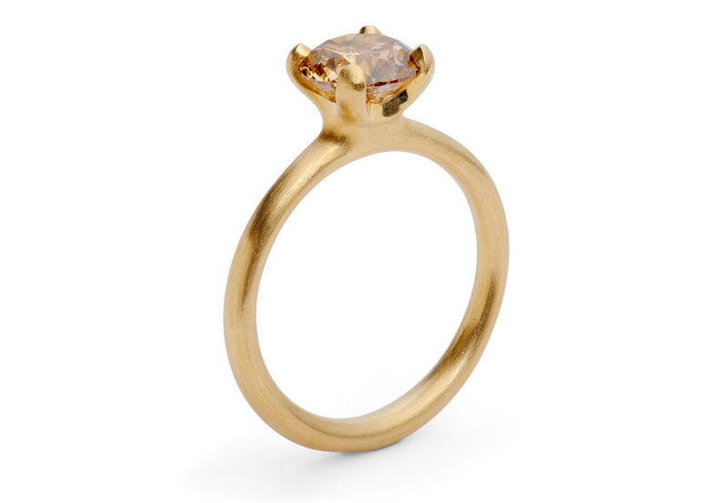modern rose gold congnac diamond engagement ring