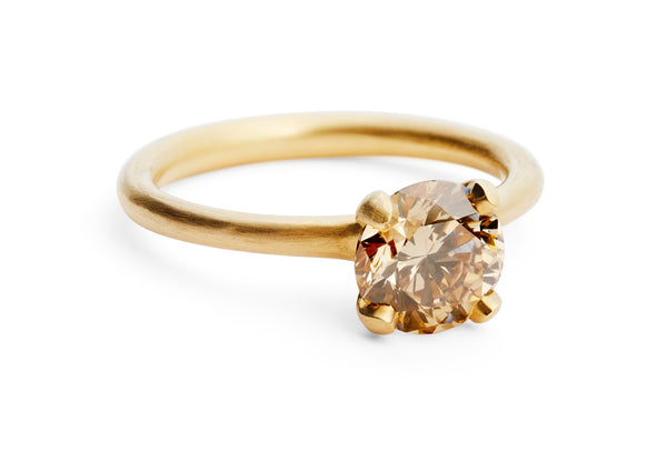 unique rose gold congnac diamond engagement ring