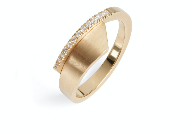 'Overlap' 18ct rose gold and diamond ring-McCaul