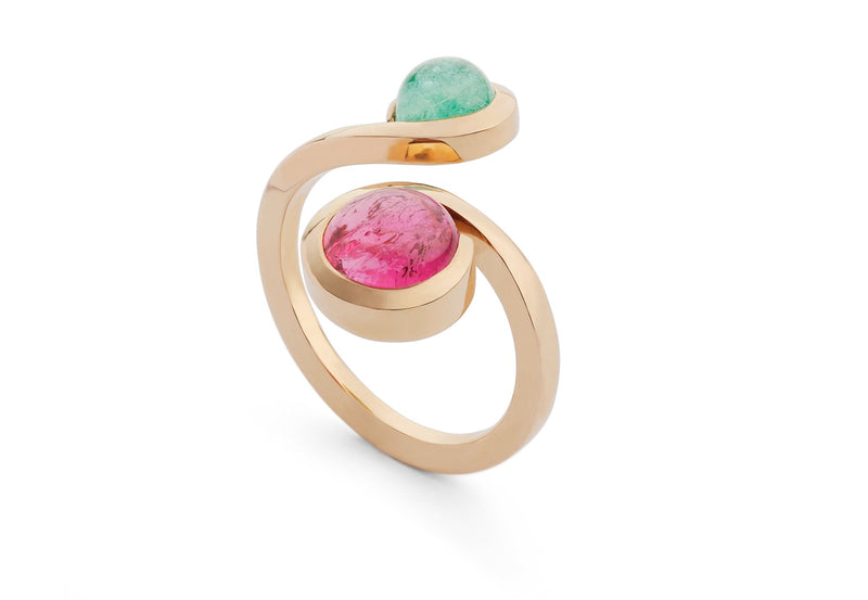 Pariaba and pink tourmaline forged two stone cocktail ring