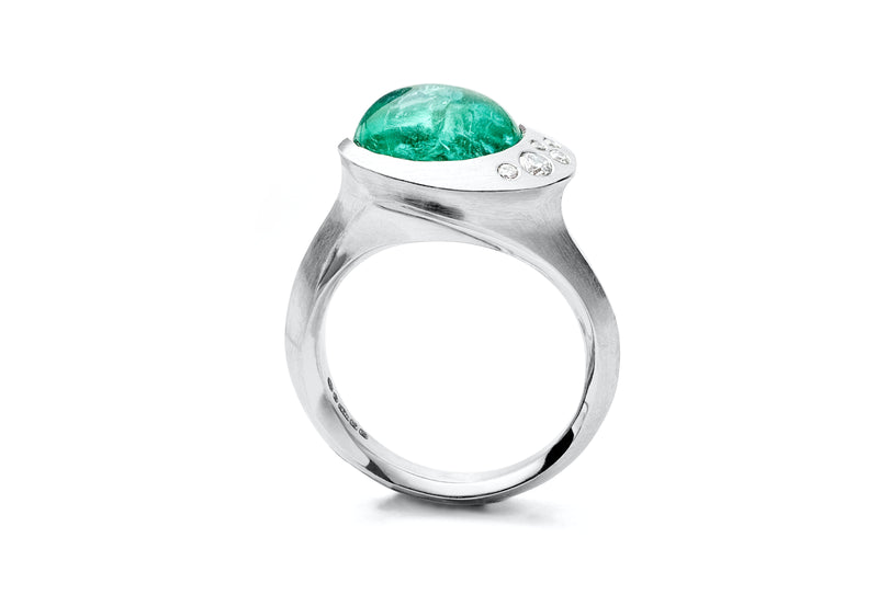 Carved platinum and Paraiba tourmaline cocktail ring with white diamonds-McCaul
