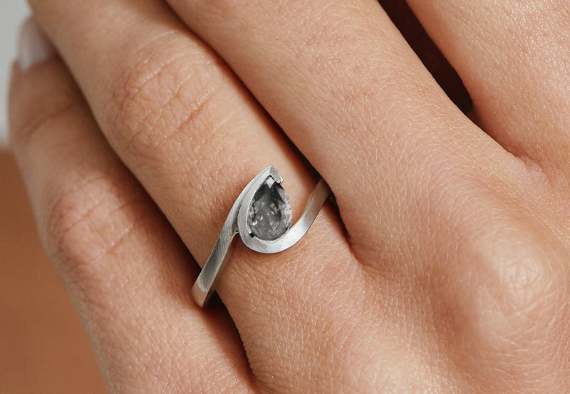 Wave platinum pear shape grey diamond engagement ring