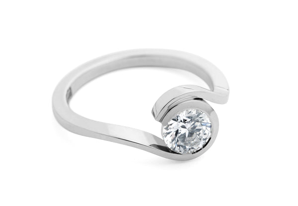 Contemporary platinum 'Wave' engagement ring with white diamond