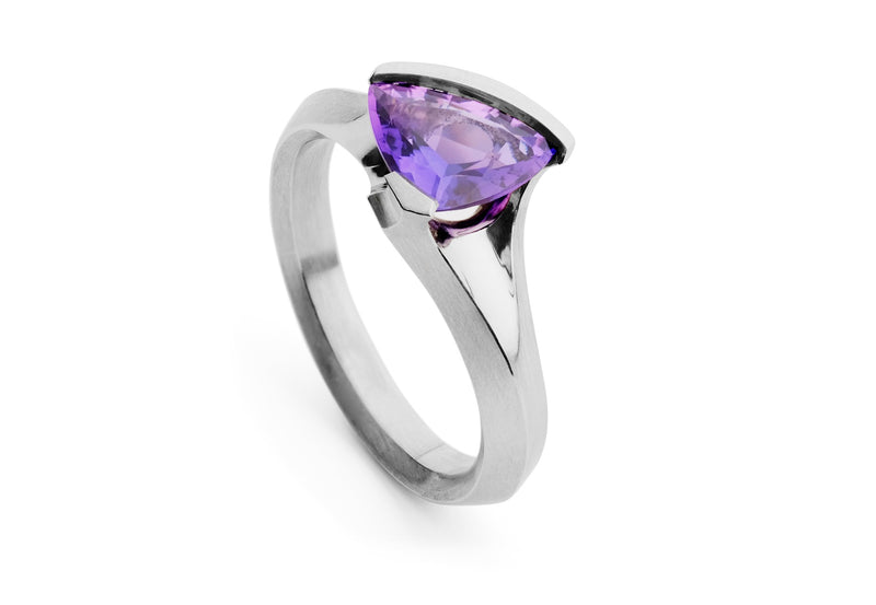 Purple sapphire trillion platinum Carve cocktail ring