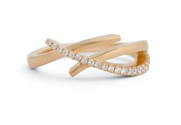 Rose gold and diamond crossover ring-McCaul