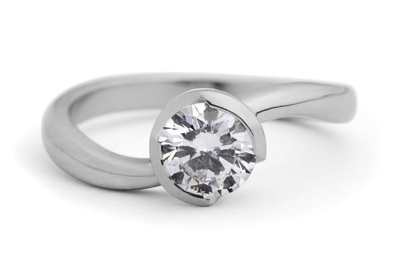 'S-Curve' platinum diamond engagement ring-McCaul