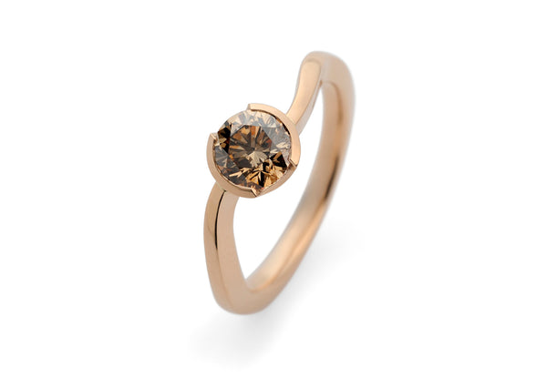 'S-Curve' rose gold engagement ring with cognac diamond-McCaul