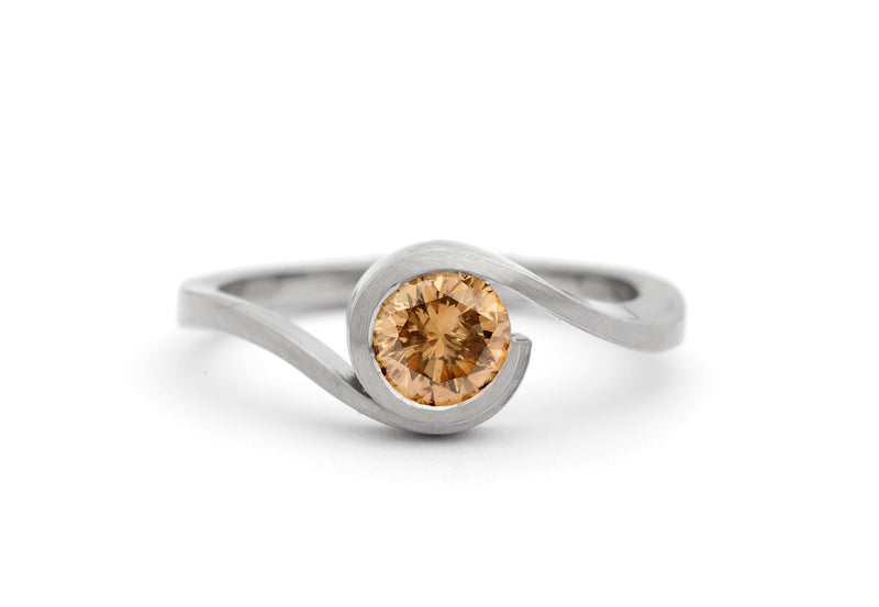 white gold and cognac diamond wave engagement ring