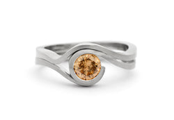 'Wave' satin finished white gold and cognac diamond engagement ring