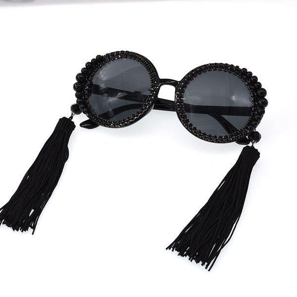 Tassel Vintage Black Fashion Sunglasses