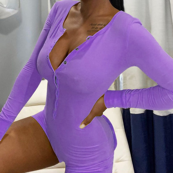 Women Solid Color Button Long Sleeve Romper Lingerie