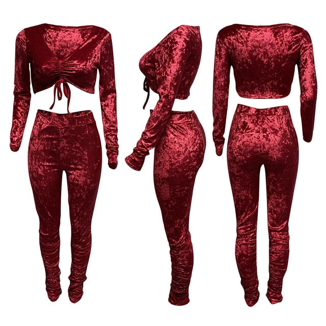 Women Sexy Velour Long Sleeve Tie Up Two Piece Pant Set