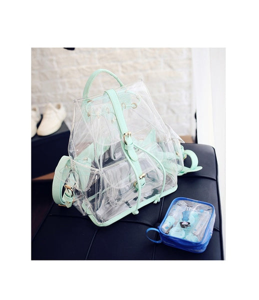 Women Fashion Transparent Clear Book Bag Purse