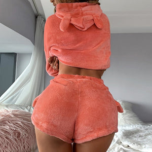 Women Fluffy Fashion Hooded Two Piece Short Lingerie Set
