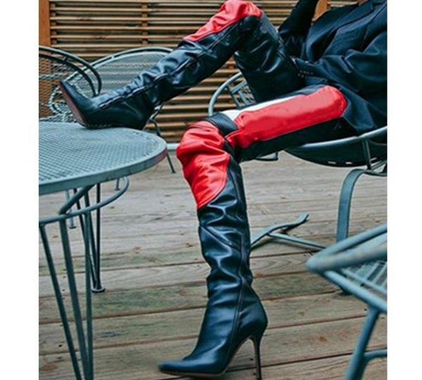 Women Color Patchwork Genuine Leather Thigh High Boots