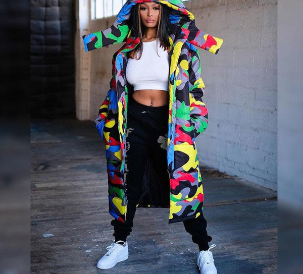 Women Camouflage Hooded Fashion Long Puff Jacket