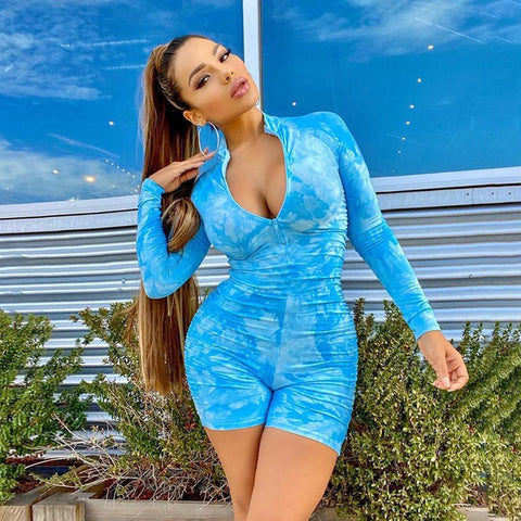 Women Fashion Long Sleeve Ruched Printed Front Zipper Blue/Pink Romper
