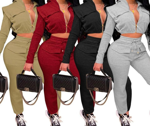Women Solid Color Hooded Two Piece Crop Pant Set