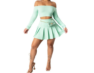 Women Two Piece Off The Shoulder Pleated Skirt Set