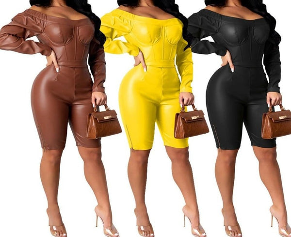 Women Solid Color Off The Shoulder Fashion Romper