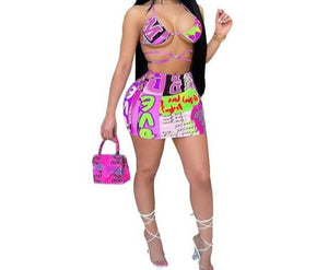 Women Colorful Print Sexy Fashion Two Piece Skirt Set