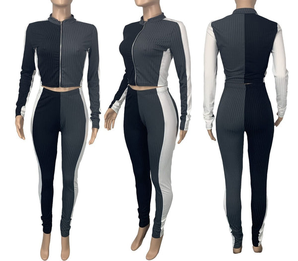 Women Ribbed Color Patchwork Two Piece Zipper Long Sleeve Pant Set