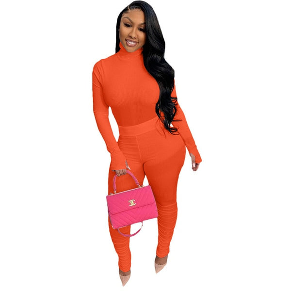 Women Solid Color Knitted Two Piece Stacked Pant Set