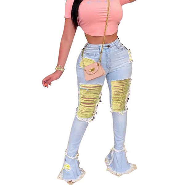 Women Fashion Color Ripped Flare Denim Pants