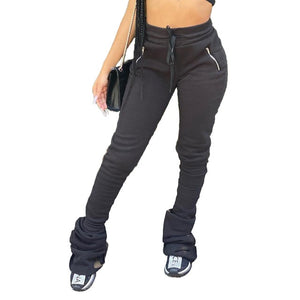 Women Solid Color Elastic Waist Fashion Stacked Pants
