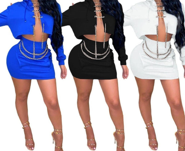 Women Fashion Two Piece Hooded Chain Skirt Set