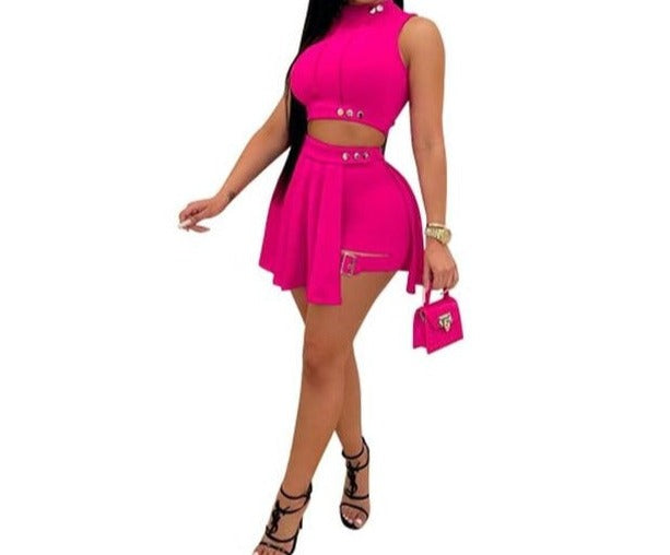 Women Pink Sexy Two Piece Sleeveless Fashion Skirt Set