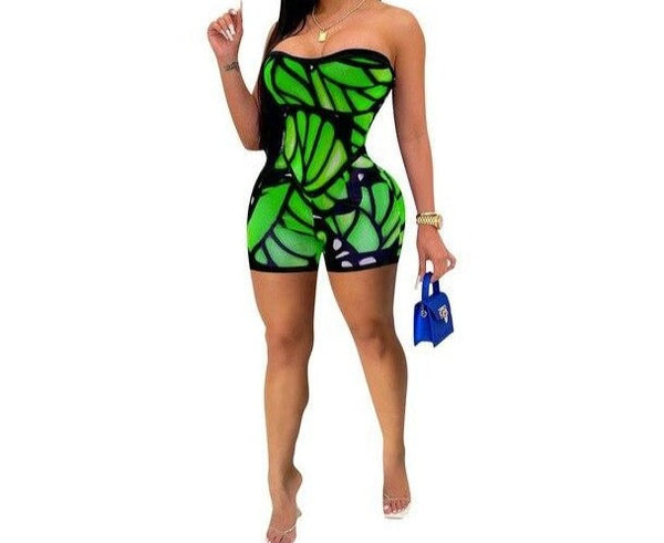 Women Sexy Strapless Color Print Fashion Romper
