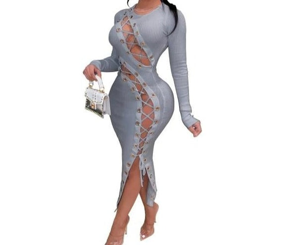 Women Sexy Long Sleeve Color Patchwork Lace Up Dress