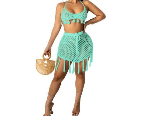 Women Knitted Two Piece Tassel Crop Skirt Set Beachwear