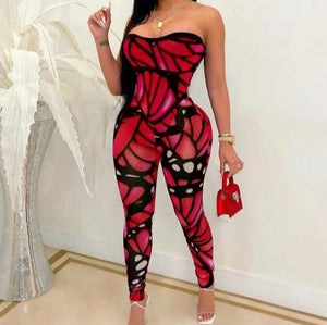 Women Strapless Sexy Color Print Fashion Jumpsuit
