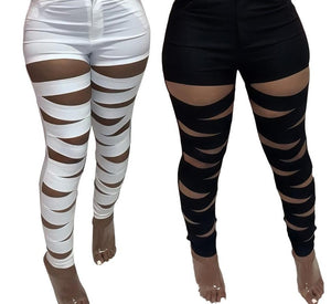 Women Black/White Cut Out Fashion Skinny Pants